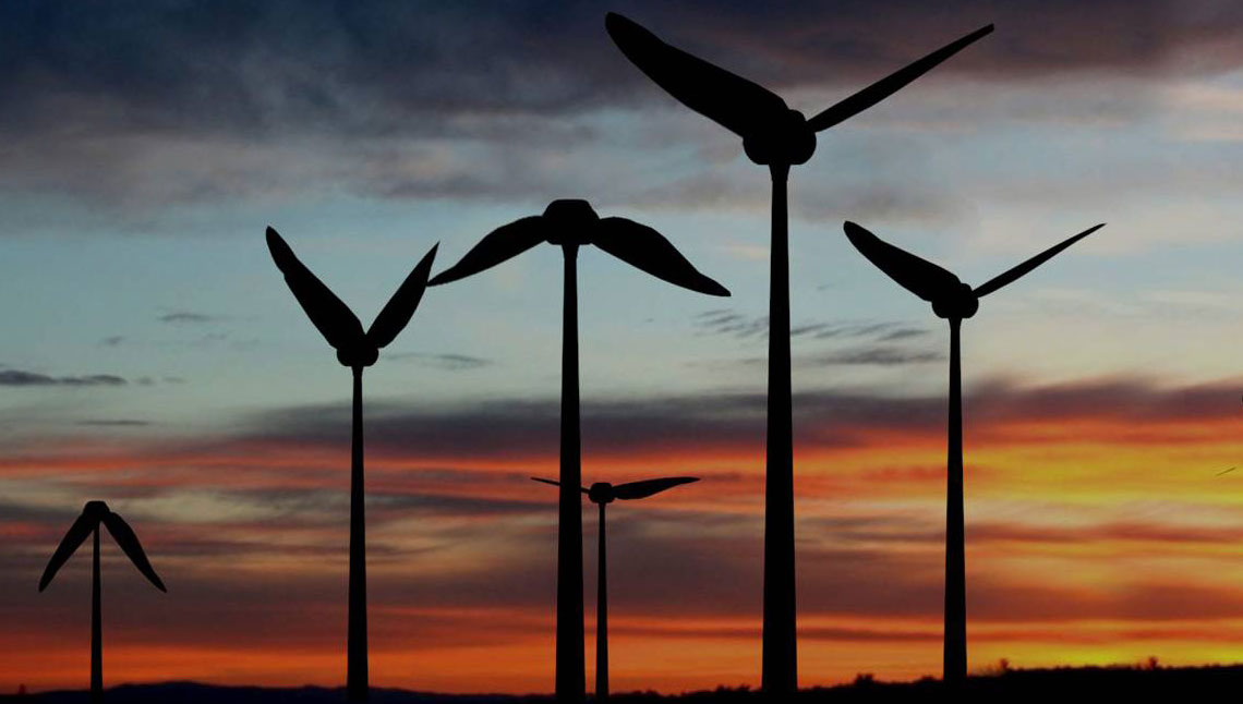 Represented wind turbine generator Tyer Wind, the blades of which move like the wings of birds in flight