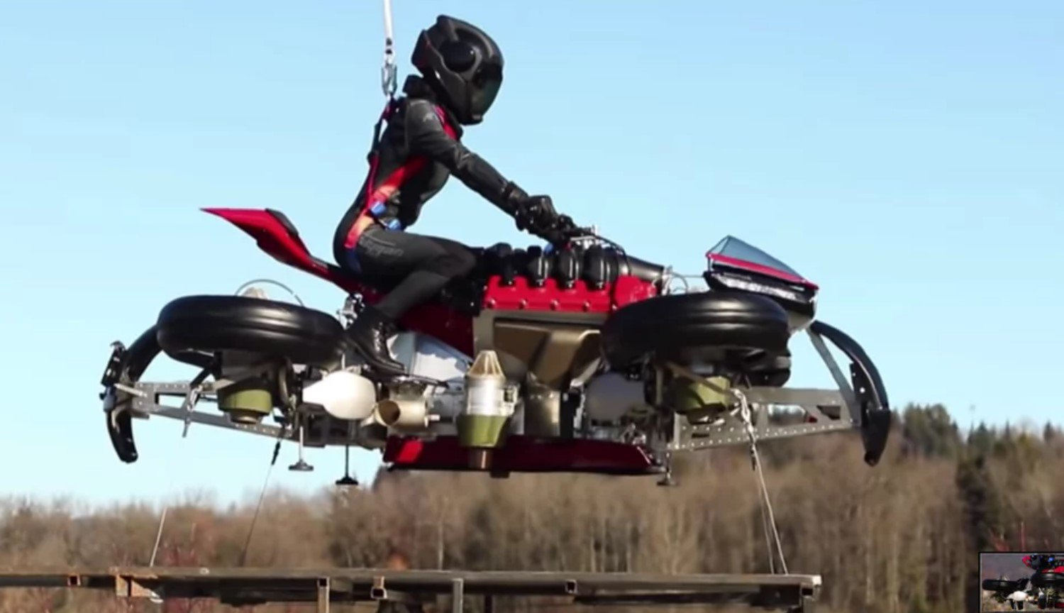 #video | Project of a flying motorcycle Lazareth real — he raised up on metre height