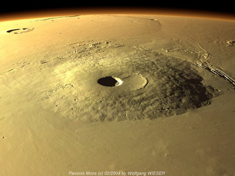 What is hidden in the ancient volcanoes of Mars?